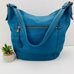 The Sak Leather Turquoise Bucket Hobo Shoulder Bag